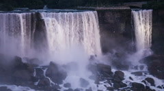 Niagara Falls - Illuminated American Falls and Bridal Veil Falls Stock Footage