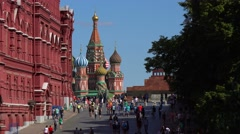 Russia, Moscow.  Red Square, St. Basil's Cathedral and Kremlin. Stock Footage
