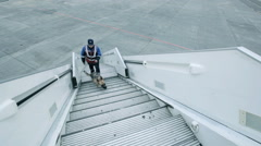 security officer with dog climb the ladder to the plane - stock footage