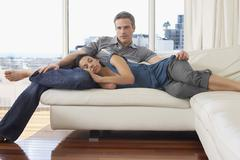 Stock Photo of Couple on Sofa in Condominium