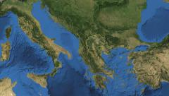 Macedonia. 3d earth in space - zoom in on Macedonia contoured 4k Arkistovideo