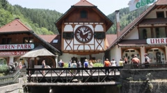 House with huge cuckoo clock Stock Footage