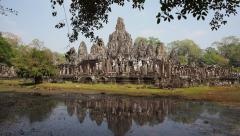 The Ancient Bayon Temple at Angkor, Siem Reap, Cambodia Stock Footage