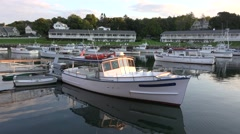 4K Maine Fishing village boats anchored in cove Stock Footage