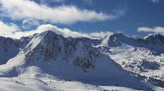 Winter landscape. Mountain ski resort Pas de la Casa, Andorra. Time-lapse. Stock Footage