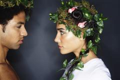 Portrait of Couple With Wreaths in Hair - stock photo