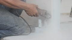 Man use cutting machine cut smartboard Stock Footage
