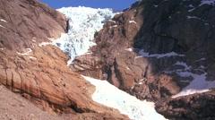 A glacier in sunlight in Norway. Stock Footage