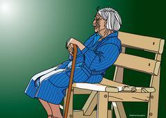 Illustration of Elderly Lady Sitting on Bench - stock illustration