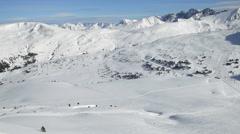 Winter landscape. Mountain ski resort Pas de la Casa - Grau Roig, Andorra. Stock Footage