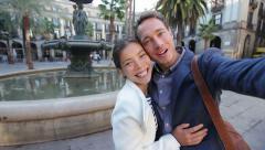 Happy couple taking selfie photo Barcelona, Spain Stock Footage