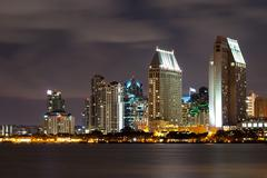 San diego cityscape at night, with clouds Stock Photos