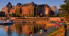 4K Dusk and the Fairmont Empress Hotel, Victoria BC, Summertime Stock Footage