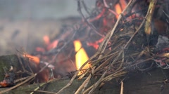 Burning smoking embers from a wood fire Stock Footage