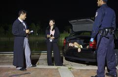 Police Investigating a Murder Scene Stock Photos