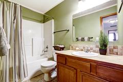 Bathroom cabinet with tile trim and decorative plant Stock Photos