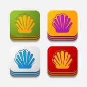 Square button: shell Stock Illustration
