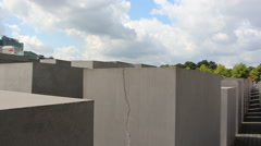 Walking inside the Memorial to the Murdered Jews of Europe - stock footage