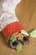 Stocking Filled With Christmas Cookies - stock photo