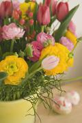 Vase of Flowers at Easter Stock Photos