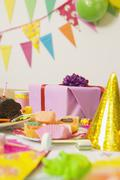 Table Set for Birthday Party - stock photo