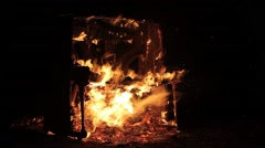 Piano Burning Musical Instrument Background - Fire Arkistovideo