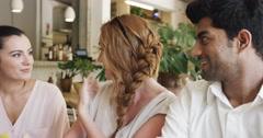 Stock Video Footage of Beautiful people taking selfie in cafe mobile phone