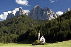 Saint Johann Church, Val di Funes, Trentino Alto Adige, Dolomites, South Tyrol, - stock photo