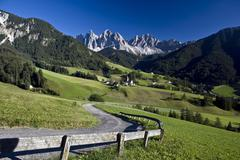 St James Church, Val di Funes, Trentino Alto Adige, Dolomites, South Tyrol, - stock photo