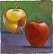 Illustration of Man Looking at Reflection in Golden Apple, with Red Apple in Stock Illustration