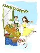 Illustration of Woman Flirting with Grocer - stock illustration