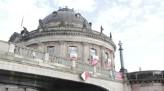 View of the Bode museum from the river Stock Footage
