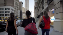 Empire State Building Manhattan New York City Women Walking NYC 5th Ave Stock Footage