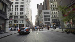 Empire State Building Manhattan People Walking NYC Crossing 5th Ave Traffic Stock Footage