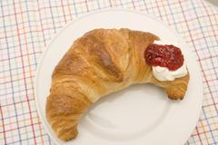 Croissant With Jam - stock photo