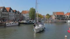 4K view on the harbor in Hoorn, Netherlands Stock Footage