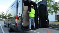 Cargo Van Delivery. Van Shipment Loading Stock Footage