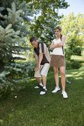 Golfers with Ball in Rough, Burlington, Ontario, Canada - stock photo