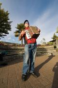 Man Playing Accordion Stock Photos