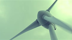 4K Close up on wind power turbine rotating Stock Footage