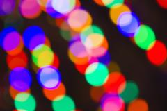 Blurred Holiday Lights in the Bavarian-themed Town of Leavenworth, Washington, - stock photo