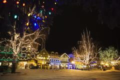 Christmas Lights in the Bavarian-themed Town of Leavenworth, Washington, USA Stock Photos