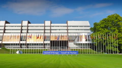 The Council of Europe building in Strasbourg Stock Footage