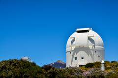 telescopes of the teide astronomical observatory - stock photo