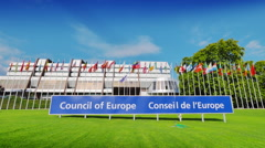 4K Council of Europe in Strasbourg, France Stock Footage