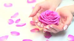 Beautiful woman's nails with beautiful french manicure Stock Footage