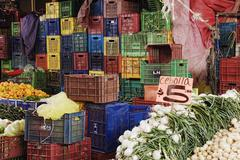 Vegetable Market Stand, Patzcuaro, Michoacan, Mexico Stock Photos