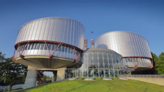 4K European Court of Human Rights in Strasbourg, France Stock Footage