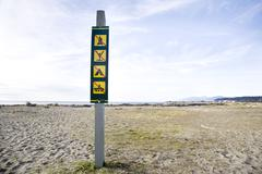 Signage at Iona Beach, Richmond, British Columbia, Canada - stock photo