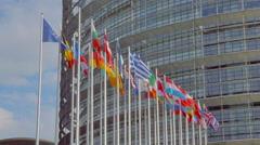 4K Flags in front of The European Parliament in Strasbourg Stock Footage